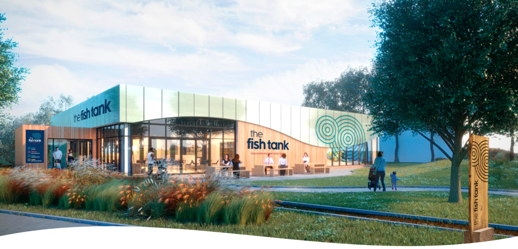 """Fish Tank Family Centre, Newton Aycliffe<br><span style=""""font-size:x-small;"""">New build leisure facility with hydrotherapy pool, cafe, function room and office space</span>"""