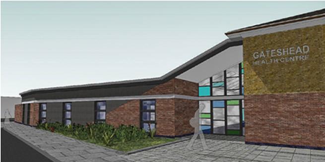 """Gateshead Health Centre <br><span style=""""font-size:x-small;"""">refurbishment of health centre</span>"""