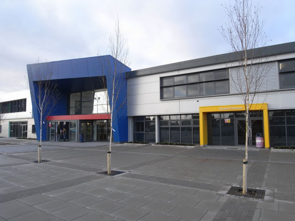 "Redcar Academy <br><span style=""font-size:x-small;""> Facade remodelling, internal refurbishment and extension including biomass installation</span>"