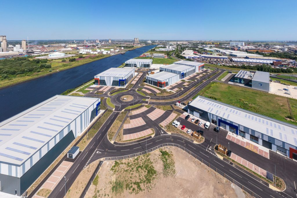 """TeesAMP, Middlesbrough <br><span style=""""font-size:x-small;"""">purpose built high specification buildings for advanced manufacturing businesses</span>"""