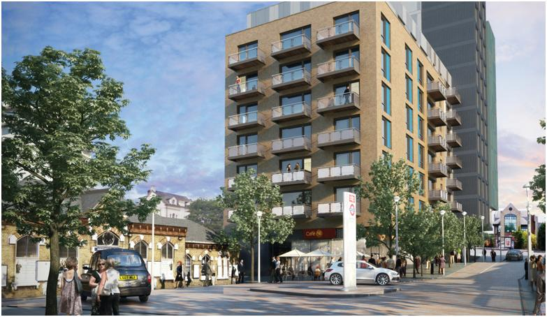 "Walthamstow, Hoe Street, London <br><span style=""font-size:x-small;"">13 storey 99 bed 2* Travelodge Hotel with restaurant and Bar, 69 residential units and retail units</span>"