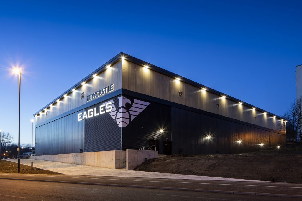 """Newcastle Eagles <br><span style=""""font-size:x-small;"""">New build basketball stadium</span>"""